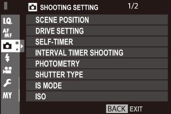 The Shooting Menus (SHOOTING SETTING)